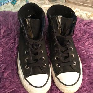 Converse black high top with zipper flap